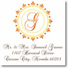 Name Doodles - Square Address Labels/Stickers (Woodbury Orange)